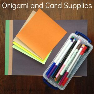 Supplies to make a homemade card for Cardz For Kidz